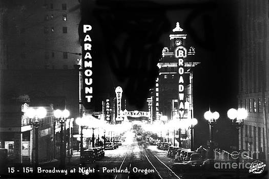 California Views Mr Pat Hathaway Archives - Broadway at night Portland Oregon circa 1945