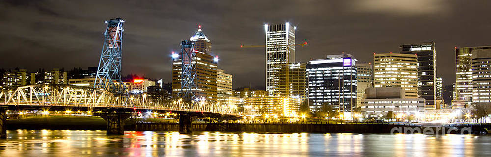 Portland Oregon City Lights Panoramic by Dustin K Ryan