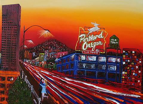 Portland Oregon Sign At Dusk by Portland Art Creations