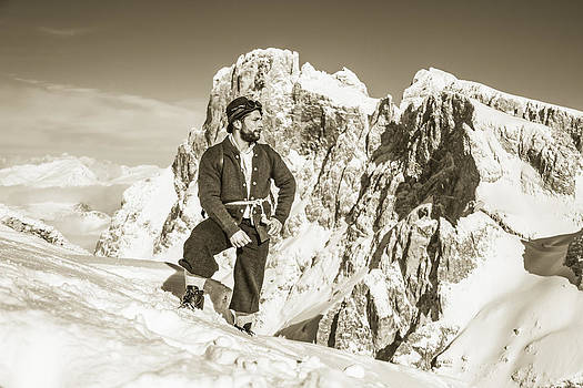 Portrait Of A Bearded Man In Old Nostalgic Skiing Outfit by Leander Nardin