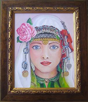 Portrait of a Bulgarian girl in national costume by Nina Mitkova