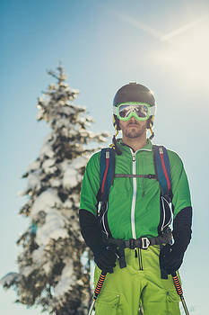 Portrait of a freerider in austian winter landscape by Leander Nardin
