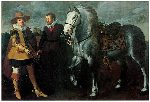 Adriaen van Nieulandt the Younger - Portrait of a Gentleman with his Horse and Groom