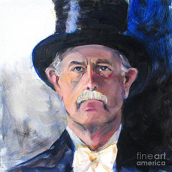 Portrait of a man in top hat by Greta Corens