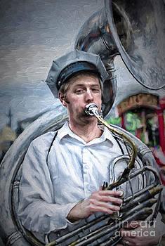 Kathleen K Parker - Portrait of a Tuba Player NOLA - Painting