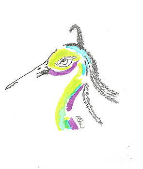 Portrait of a Whimsical Heron by Bernadette Crotty