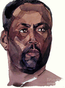 Watercolor Portrait of an Athlete by Greta Corens