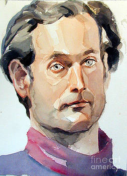 WAtercolor Portrait of a Man with Pale Blue eyes by Greta Corens