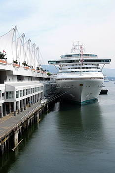 Portrait of cruise ship at Canada Place by Devinder Sangha
