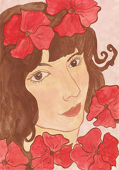 Portrait of Lady with Red Flowers by Moya Moon