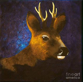 Portrait of roebuck by Lisbet Damgaard