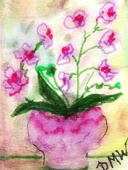 Pot of Purple Orchids by Debbie Wassmann