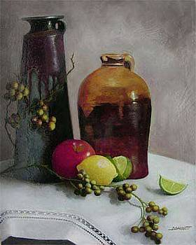 Pottery and Fruit by Diana L Hund