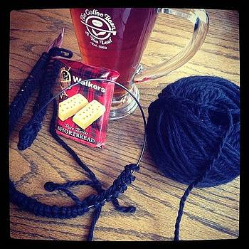 Pouring Rain, Knitting, Hot Tea And by Lacie Vasquez