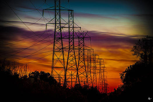 Power Line Sunset West Bloomfield MI by A And N Art