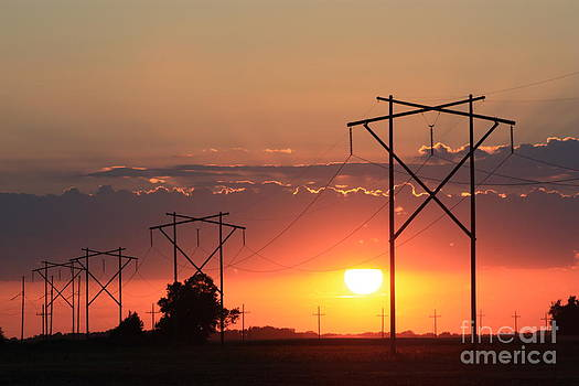 Power Line's Sunset UP CLOSE by Robert D  Brozek