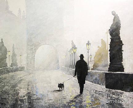 Prague Charles Bridge Morning Walk 01 by Yuriy Shevchuk