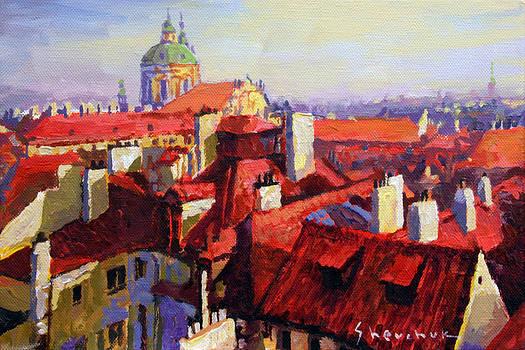 Prague Old Roofs 04 by Yuriy Shevchuk