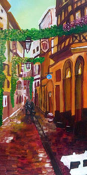 Prague Old Small Street  by Janelle Dey by Janelle Dey