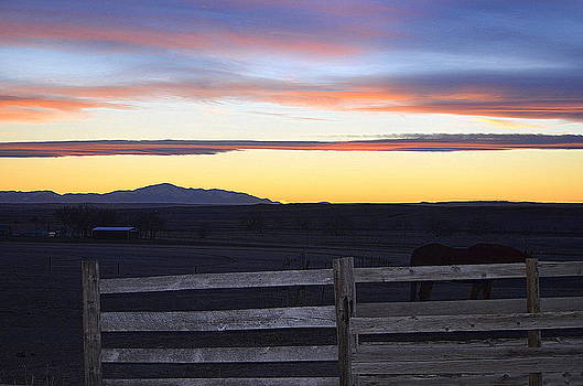Prairie Ranch Sunset by Clarice  Lakota