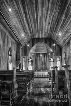 Darcy Michaelchuk - Prairie Ukrainian Church Aisle Black and White