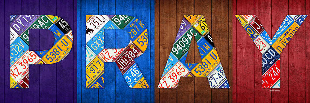 PRAY Lettering Sign Kitchen Dining Room Recycled Vintage License Plate Art by Design Turnpike