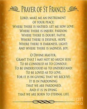 Ginny Gaura - Prayer of St Francis - Pope Francis Prayer - Gold Parchment