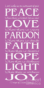 Prayer of St Francis - Subway Style - Radiant Orchid by Ginny Gaura