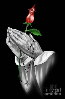 Praying Hands with a Rose by Luis Padilla