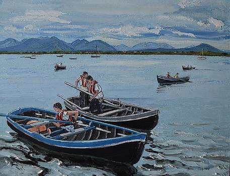 Preparing for the Currach race Roundstone Ireland by Diana Shephard