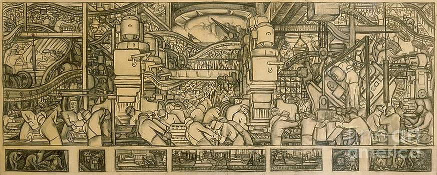 Diego Rivera - Presentation drawing of the automotive panel for the north wall of the Detroit Industry Mural