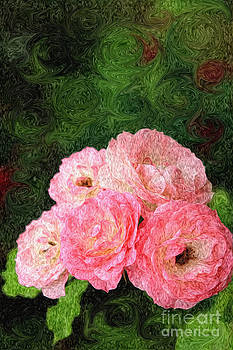 Beverly Claire Kaiya - Pretty Pink Painterly Roses with Green Background