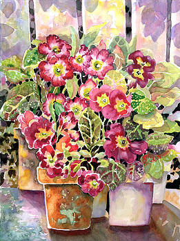 Primroses in Pots by Ann  Nicholson