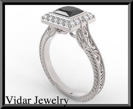 Princess Cut Black Diamond Filigree Engagement Ring by Roi Avidar