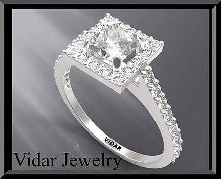 Princess Cut Diamond 14k White Gold Engagement Ring by Roi Avidar