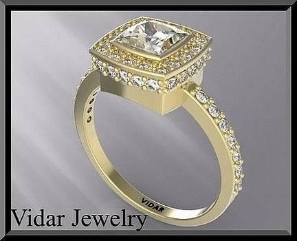 Princess Cut Diamond 14k Yellow Gold Engagement Ring by Roi Avidar