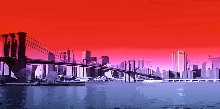 New York Red Blue by Neil Hemsley
