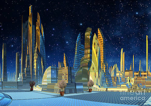 Future City in the year 2498 Austin Texas  by Heinz G Mielke