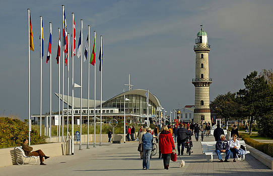 Promenade at Warnemuende Germany by David Davies