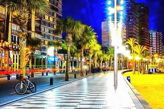 Promenade in Benidorm Spain at night by Mick Flynn