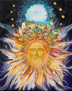 Anne Cameron Cutri - Prophetic Message Sketch Painting1 Jesus Christ with Blossoming Crown Lion of Judah