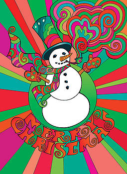 Psychedelic Snowman 1 by Steven Stines