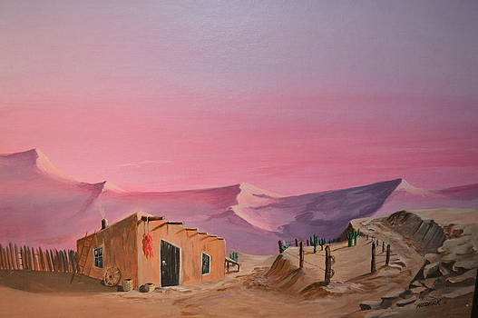 Pueblo at Sunset by Barney Hedrick