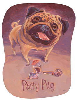 Pug Piles On The Party by Shawn Shea