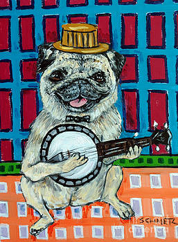 Pug Playing banjo by Jay  Schmetz