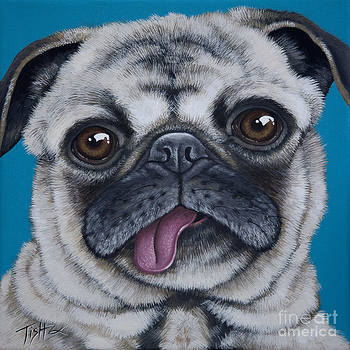 Pug portrait by Tish Wynne