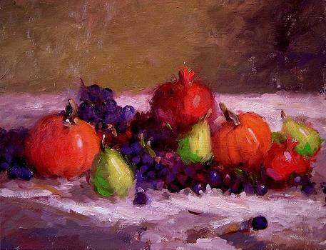 Pumpkins grapes pomegranates and pears by R W Goetting