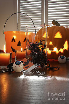 Sandra Cunningham - Pumpkin candles and spiders in a jar for Halloween
