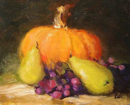 Pumpkin pears and grapes by R W Goetting