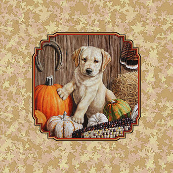 Crista Forest - Pumpkin Puppy Leafy Background